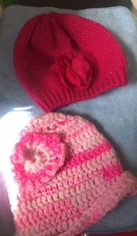 pink and white knit cap Carson, 90746