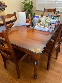 Dining table and chairs.  Corner curio cabinet  and more.