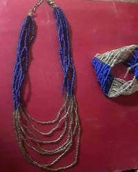 Multi Strand Blue & Silver Beaded Necklace with Matching Bracelet Aurora, 80012