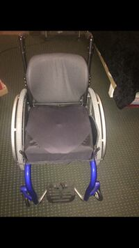 Wheelchair blue and black color. It's aluminum. It was only used 5 times. It's new Meridian, 39307