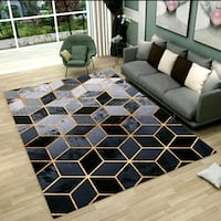 Large Size Gold Geometric Carpet Singapore, 752106