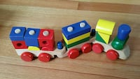 brown,red,green,blue and yellow wooden lego train toy Springfield