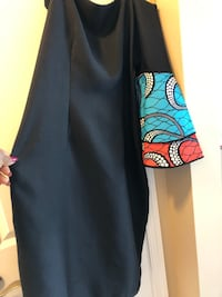 Black Pique dress with African Print sleeves  Ellicott City, 21043