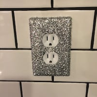 Silver Sparkle Light SWITCHPLATE 1 Duplex hand crafted Nottingham