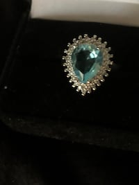 Very nice Blue and White Topaz set in sterling silver 7-8 $92.00  Red Lion, 17356
