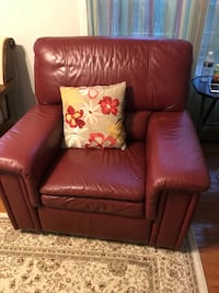 red leather recliner armchair with throw pillow 43 km