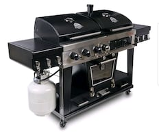 Gas and charcoal grill combo with smoker