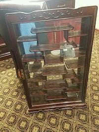 brown wooden framed glass display cabinet Brooklyn, 11219