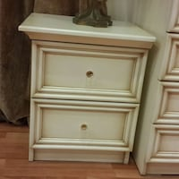 Beige wooden 2 drawers chest