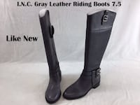 International Concepts I.N.C. Gray Leather Riding Boots Size 7.5M Lanham