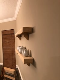 NEW HANDMADE WOOD SHELVES THESE ARE AVAILABLE FOR 30.00 EACH CAN MAKE DIFFERENT SIZES PRICES MAY VARY PICK UP WEST MOBILE DAWES RD HARDWARE INCLUDED  Grand Bay, 36541