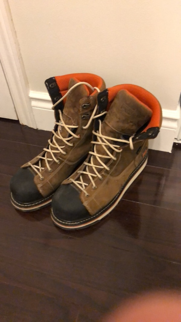 pair of brown leather work boots
