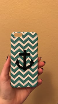 teal and white anchor phone case