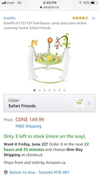 NEW Evenflo ExerSaucer Jump and Learn Centre Safari Friends Toronto, M1V 4W8