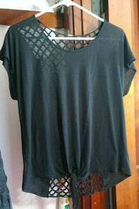 Tie-Front Black Blouse with Crocheted Back Dayton, 45409