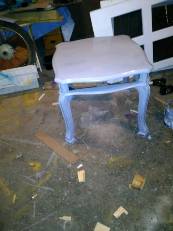 white wooden table with chair