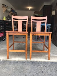 Two sturdy Oak chairs/ barstool/ High chair/dining room chairs Auburn, 03032
