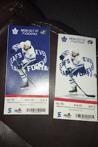 Leafs tickets for this Monday October 21 2019 Toronto, M9P 3M7