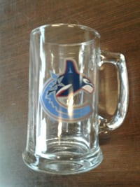 clear Vancouver Canucks glass beer mug