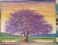 purple leaf tree painting