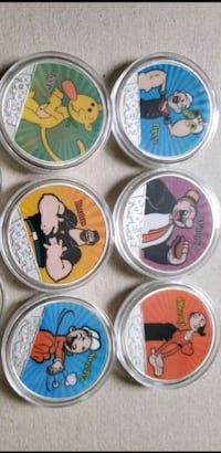 Set of 6 coin art Popeye