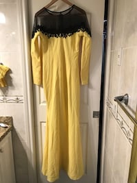 Yellow and black sheer illusion neckline long-sleeved dress Burnaby, V3N 2S4
