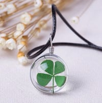 """NEW - Real four leaf clover or Dandilion pendant with 16"""" leather rope chain Guelph"""