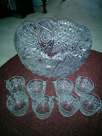 Vintage L E Smith punch bowl set Millersville