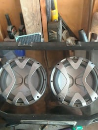 two gray and black subwoofers Mississauga, L5N 5W5