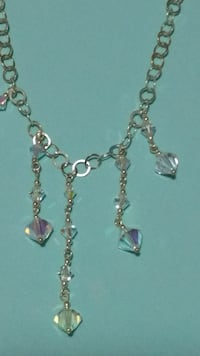 silver-color clear beaded necklace