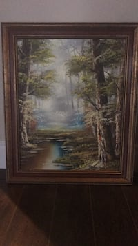 brown wooden framed painting of house Vaughan, L6A 0E3