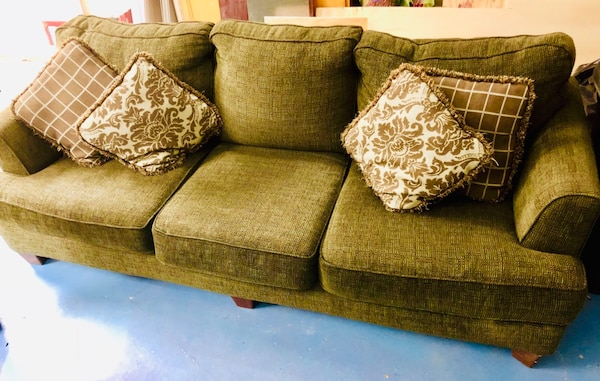 Brown Dark Green 3 Seater Deep Sofa Couch Ashley Furniture Best Offer