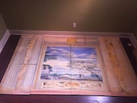 Mural painting on wood panels