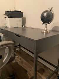 Ikea grey desk with office chair