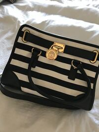 black and white stripe leather wristlet Midland, 79706