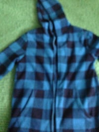 Blue and dark blue  plaid hoodie size 14 kids in excellent condition