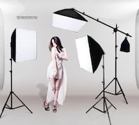 1300w 3-Point Continuous Softbox Lighting Kit + White Backgound & Stand / GTAPhotoStudio . com