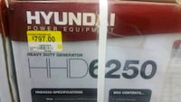 Generators Hyundai 6250 watts. New 550.00 each or 2 pcs 499.00 each