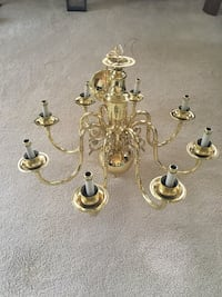 Sold Polished Brass 8 Bulb Chandelier Frederick