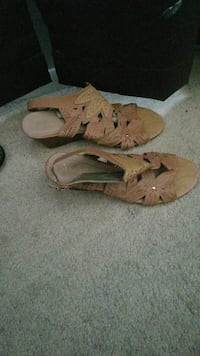Tan  wedge shoes size 10