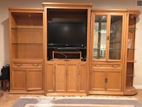 Brown wooden tv hutch without flat screen television. Bookcases can be sold separately make offer Walnut, 91789