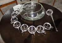 Punch bowl w/ 12 glasses and glass ladle Sherwood Park, T8A 6L4