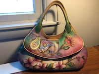 brown and green floral leather handbag Rockville, 20853