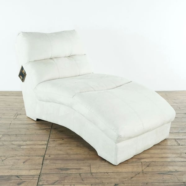 Ashley Furniture Contemporary White Upholstered Suede Chaise Lounge (1022727)