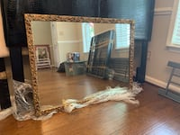 Large Vintage Estate Mirror with golden roses Chantilly, 20152