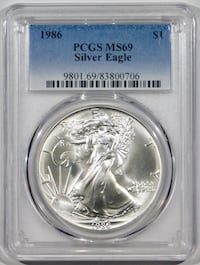 1986 $1 Silver Eagle - Cert. by PCGS MS6 Fort Lee, 07024