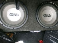 two black and gray subwoofers Aurora, 80010