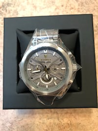 round silver chronograph watch with link bracelet Phoenix, 85014