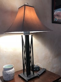 Black metal base with white lampshade table lamp