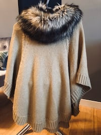 Michael Kors cape sweater with fur collar